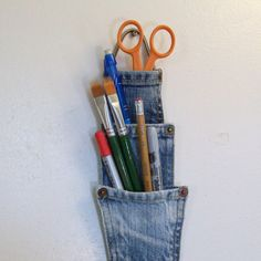 Denim pen or pencil storage pockets