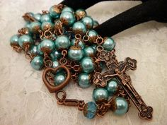 Blue Pearled Copper Rosaries by ShellysRosaries on Zibbet