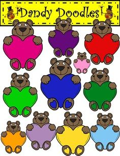 Sweetheart Bears Clip Art: 12 PNG images (11 color and 1 BW) $