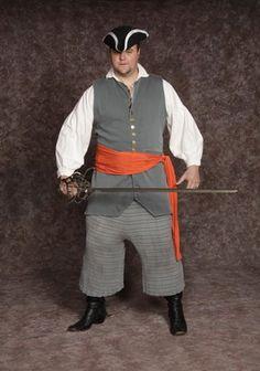 $30.00 Costume Rental  Pirate #3  long gray vest, stock shirt, blue/gray stripe pants, orange sash