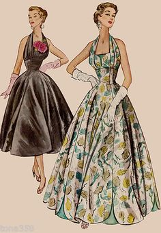 """50s Halter Cocktail Dress Evening Gown McCall's 9662 Sewing Pattern B30"""""""