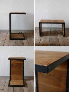 ≪サイドテーブル≫【無垢オーク×アイアン コの字型/sofa side table/2サイズ】