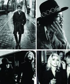 Bob Dylan (top left); Jimi Hendrix (top right); John Lennon and Yoko Ono (bottom left); Debbie Harry (bottom right).     Legends.