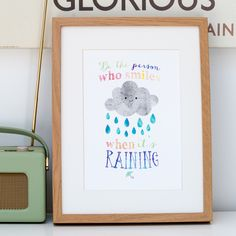 'Be The Person Who Smiles When It's Raining' inspirational quote by Shop Paper Scissors