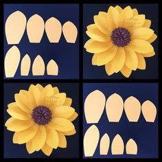 64 Trendy ideas for baby room art tissue paper Sunflower Birthday Parties, Sunflower Party, Sunflower Baby Showers, Sunflower Crafts, Giant Paper Flowers, Felt Flowers, Diy Flowers, Jasmin Party, Sunflower Template