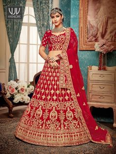 Buy Red Satin Silk A Line Lehenga online from the wide collection of a-line-lehenga. This Red colored a-line-lehenga in Art Silk fabric goes well with any occasion. Shop online Designer a-line-lehenga from cbazaar at the lowest price. Lehenga Indien, Kurta Lehenga, Long Choli Lehenga, Bollywood Lehenga, Red Lehenga, Lehenga Choli Online, Ghagra Choli, Lehnga Dress, Indian Wedding Gowns