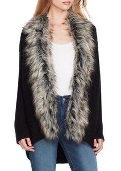 Jessica Simpson Women s Elm Faux Fur Trim Cocoon Sweater - Black - M Faux  Fur Collar 033d4e6a2
