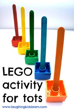Laughing Kids Learn: LEGO activity for tots is great for developing fine motor control, hand/eye coordination, patience, concentration and matching colours.