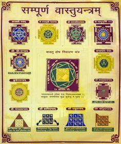Sampurna Vastu Yantram (Complete Vastu Yantra) Shiva Art, Shiva Shakti, Hindu Art, Vedic Mantras, Hindu Mantras, Tantra Art, Shri Yantra, Saraswati Goddess, Sanskrit Mantra