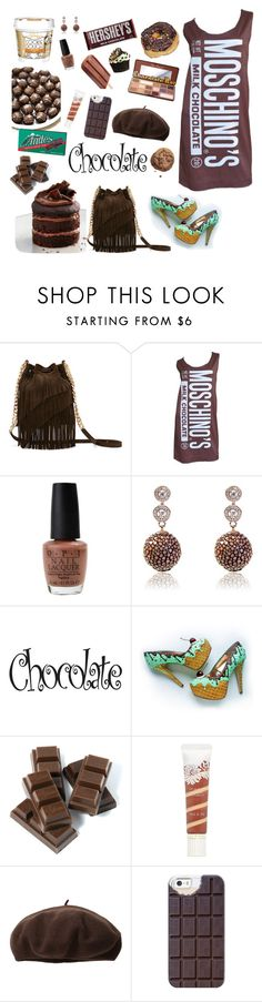 """""""Chocolate"""" by dory-speaks-whale ❤ liked on Polyvore featuring Elizabeth and James, Jeremy Scott, OPI, Latelita, Paul & Joe, Dorfman Pacific, Casetify, Too Faced Cosmetics and Hershey's"""