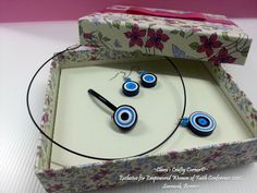 Handmade Quilling Paper Jewelry - Blue Lollipops.  Sets come with ring, earrings & a pendant.