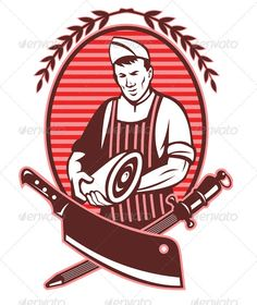 Realistic Graphic DOWNLOAD (.ai, .psd) :: http://jquery.re/pinterest-itmid-1001645214i.html ... Butcher Holding Meat Knife Retro Style ...  Butcher, Meat Cleaver, crossed, cutter, holding, illustration, knife, laurel, man, meat, olive leaf, retro, sharpener, vector  ... Realistic Photo Graphic Print Obejct Business Web Elements Illustration Design Templates ... DOWNLOAD :: http://jquery.re/pinterest-itmid-1001645214i.html