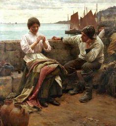 'A CORNISH IDYLL' (1902) | Walter Langley (1852-1922) : Oil     ✫ღ⊰n