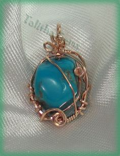 Fox Mine Turquoise Nugget Rose Gold Wire Wrapped Pendant