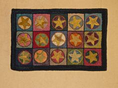 SALE! Hooked rug  Boxed Stars handmade original by ThePreeningCrow, $180.00