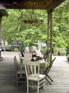 8 Droolworthy Outdoor Porches - The Summery Umbrellawonder if I could do something like this in the pergola canopy Rustic Outdoor Spaces, Outdoor Rooms, Outdoor Dining, Outdoor Gardens, Outdoor Furniture Sets, Outdoor Seating, Outdoor Patios, Dining Table, Architectural Plants