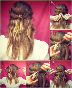 Sweet and so easy - for when I have a bad hair day Trendy Hairstyles, Girl Hairstyles, Carmel Hair Color, Hair Knot, Girl Short Hair, Great Hair, Hair Lengths, Updo, Hair Inspiration