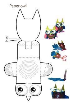 printables for kids Owl Crafts, Animal Crafts, Crafts For Kids, Arts And Crafts, Paper Crafts, Paper Owls, Paper Art, Projects For Kids, Diy For Kids