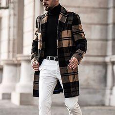Plaid Coat, Wool Coat, Tartan Plaid, Men Casual, Casual Menswear, Casual Wear, Fashion Top, Style Fashion, Black Men Fall Fashion