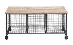 Woodland Imports Metal Storage Bench with Basket & Reviews | Wayfair $215.00