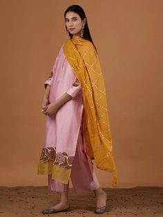 Pink Embroidered Chanderi Silk Suit with Yellow Gota Cotton Mulmul Dupatta - Set of 3 Party Wear Indian Dresses, Pakistani Dresses Casual, Dress Indian Style, Indian Attire, Indian Outfits, Pink Color Combination, Color Combinations For Clothes, Designer Anarkali Dresses, Yellow Suit