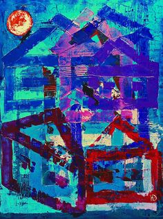 "Erokhin Valery on Twitter: """"Cats with the moon on the roof of house"", 60х80, acrylic on canvas on cardboard, 2016, artist Yulia Erokhina https://t.co/Jpe6tEeQa9"""