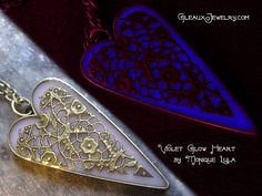 Violet Glow in the Dark Heart Pendant Antiqued by MoniqueLula, $28.00