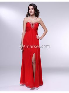 Chiffon Sheath Strapless Beading Front Slit Evening Dress Silhouette: Sheath Neckline: Strapless Hemline: Floor Length Train: N/A Embellishments: Beading Back Details: Open back Fully Lined: Yes Built-In Bra: Yes Materials: 120D High Density Chiffon Colours: Red Occasion : Evening, Milltary Ball, Formal occasion  Size Chart, Visit http://www.okmarket.com/size-chart  Color Chart, Visit http://www.okmarket.com/dress-color-number  How to Measure, $168.00