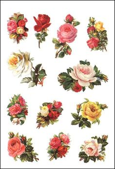 Decoupage Paper and Collage Sheets, Original Tissue, Flowers Vintage Flowers, Red Flowers, Paper Flowers, Tissue Flowers, Paper Art, Paper Crafts, Illustration Blume, Decoupage Vintage, Decoupage Ideas