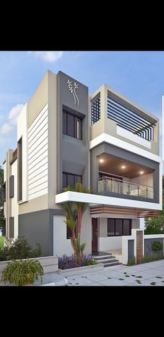 Modern Bungalow House Design, Modern Exterior House Designs, Modern Small House Design, Duplex House Design, House Outer Design, House Front Design, 3 Storey House Design, House Architecture Styles, Model House Plan