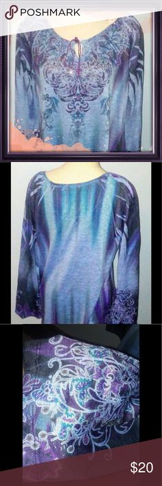 Colorful loose light weight fitting shirt🍧 Loose fitting Blue Shirt very light weight and flowing and comfortable wear with leggings or that great pair of jeans. Tops