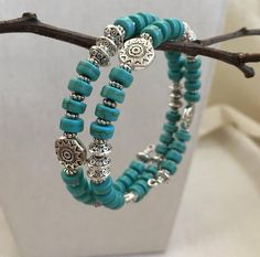 SOUTHWESTERN Turquoise and Silver Memory Wire Bracelet, Turquoise and Silver Sun Bracelet, Southwestern Bracelet, Silver Bangle Memory Wire Jewelry, Memory Wire Bracelets, Handmade Bracelets, Jewelry Bracelets, Beaded Necklaces, Making Bracelets, Diy Bracelets Easy, Wire Earrings, Jewelry Making