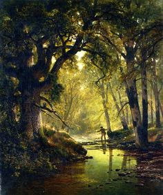 """spoutziki-art: """"Thomas Hill, Angler In A Forest Interior, 1874 """" Nature Paintings, Beautiful Paintings, Beautiful Landscapes, Romanticism Paintings, Landscape Art, Landscape Paintings, Art Thomas, Thomas Moran, Hudson River School"""