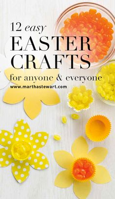 12 Easy Easter Crafts for Anyone & Everyone | Martha Stewart Living - Hop to it! It only takes minutes to make cheery decorations, party favors, and basket stuffers for the spring season. These bunnies, chicks, and colorful egg decorating ideas are fun for grownups and kids alike.