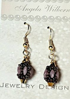 Purple and gold beaded earrings - lavender and purple bead work earrings - Bohemian earrings - boho jewelry