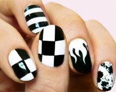 Black and White Nail Art 13 - 55 Black and White Nail Art Designs