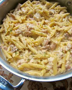 No Boil Chicken Alfredo Skillet | Plain Chicken 1 1/2 lb boneless chicken breasts 1-2 Tbsp olive oil 3 garlic cloves, minced 1 3/4 cups low sodium chicken broth 1 1/4 cups heavy cream 8 oz penne pasta 2 cups grated parmesan cheese salt to taste pepper to taste
