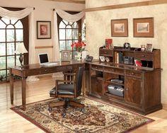 By Ashley Furniture in Longview, TX - Hamlyn - Medium Brown 4 Piece Home Office Set