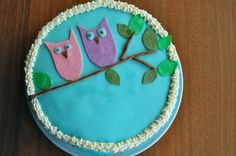 """My sister wanted an """"owl-themed"""" cake for her birthday, so this is how it ended up looking. Tasted wonderful as well! <3"""