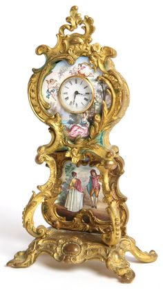 Cast gilt bronze rococco style tall case with porcelain dial.  Dial with painted enamel scene of lady in 18th Century style dress, in garden setting with two cherubim above.  Enameled tablet below dial with courting couple, also in 18th Century style clothing.