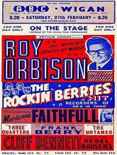 'Roy Orbison - ABC Theatre, Wigan' Fantastic A4 Glossy Art Print Taken from A Vintage Concert Poster by Design Artist http://www.amazon.co.uk/dp/B019JO61BY/ref=cm_sw_r_pi_dp_LrnDwb0NQC05B