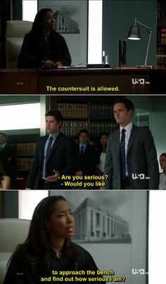 Jessica Pearson: The countersuit is allowed. Future Lawyer: Are you serious? Jessica Pearson: Would you like to approach the bench a. Suits Show, Suits Tv Shows, Suits Quotes, Tv Quotes, Best Tv Shows, Movies And Tv Shows, Suits Tv Series, Jessica Pearson, Suits Harvey