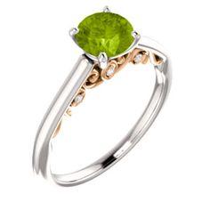 14kt White & Rose  6mm Round Engagement Ring Mounting