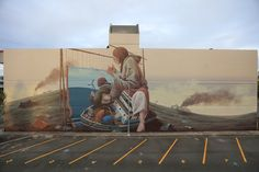 Detroit based artist Pat Perry spends 6 days in Napier, New Zealand, to paint a new mural for Sea Walls organized by the PangeaSeed Foundation. About The Mural Murals Street Art, Street Art Graffiti, Mural Art, Napier New Zealand, Pat Perry, Detroit Area, Farm Art, Sidewalk Art, Art Programs