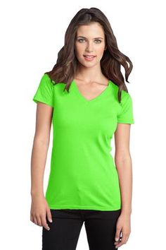District - Juniors The Concert Tee V-Neck Style DT5501 #neon #green #shirts #cotton