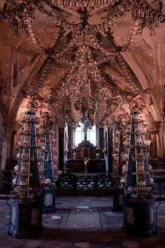 """Sedlec Ossuary in Poland.  Church with tribute sculptures made from bones of black plague victims.  (there are many """"bone churches"""" throughout Europe after the Black Plague).   People actually made pilgrimages to die there because someone bought back a jar of dirt from Palestine and used it to consecrate the ground.  Fascinating stuff."""