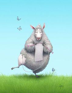 Lion Brand Yarn — Super cute knitting sheep by artist Chris Ayers Knitting Quotes, Knitting Humor, Crochet Humor, Knitting Projects, Knitting Patterns, Knitting Wool, Knitting Ideas, Crochet Patterns, Sheep Art