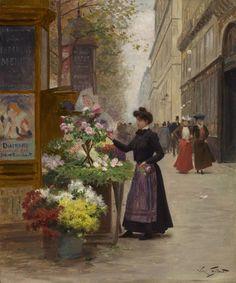Uma florista no Grande Boulevard, Paris - Victor Gabriel Gilbert
