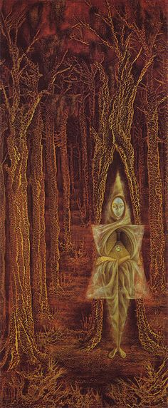 Ermitaño, 1955. Óleo y concha nácar incrustada sobre masonite. 91x40 cm. Colección particular. Surrealismo. Remedios Varo. (Oil and mother of pearl inlaid on masonite panel).