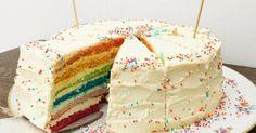 Regenbogenkuchen, Regenbogentorte, Geburtstagskuchen, Frischkäsecreme, Biskuitboden, 4. Geburtstag